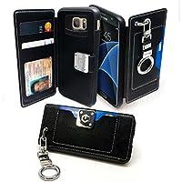 Caso Galaxy S7 bordo, Arium [frizione] Premium Portafoglio [nero] [Copertina Pocket] [del respingente di TPU] protezione delle dita Keychain del supporto della clip [Protezione goccia] per Samsung Galaxy S7