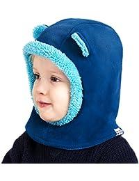 Cheeky Monkies Pasamontañas para niños Invierno cálido forro polar sudadera con capucha máscara braga para cuello de esquí sombrero para niños Edad 2-6 Chicos AZUL