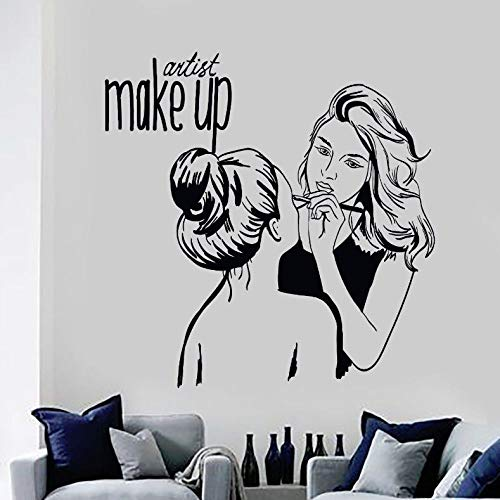WWYJN Vinyle Sticker Make Up Artiste Sticker Mural Cosmétique Beauté Salon Décor Mural Amovible Make Up Boutique Affiche Murale Bleu 42x43cm