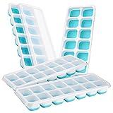 fucailai 4Stück Eiswürfelformen lebensmittelechtem Silikon mit Eis Würfel, Förmchen mit spill-resistant abnehmbarer Deckel mit Release-Gefrier-Schalen blau/weiß