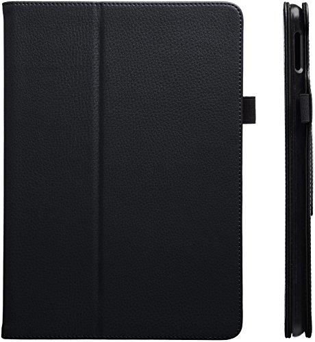 AmazonBasics - Funda de cuero sintético para iPad, con tapa con función inteligente de activación/reposo, Negro, 24,6 cm