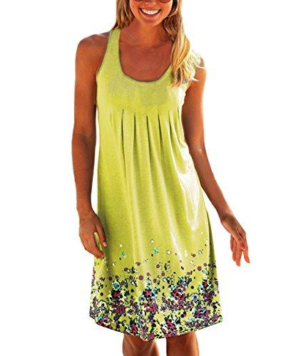 Yidarton Donna Estate Vestito Stampa Knielang Senza Maniche Rotondo Collo Beach Dress Estate Vestito Sciolto (M, giallo)