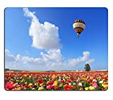 luxlady Gaming Mousepad Bild-ID: 19017990gestreift hell Ballon Fliegen Über Einen Bereich von bunten Garten der Ranunkeln Spring Day in Israel