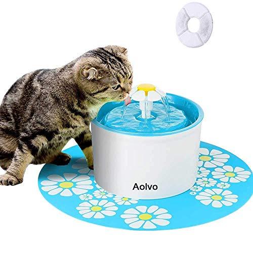 AOLVO Bebedero Automático Silencio, Fuente de Agua para Perros/Gatos, con 1.6L Circulante,...