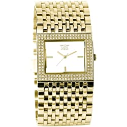 Davis Elegance Pool Quartz Watch with Golden Steel Bracelet and Rhinestone Surround Dial