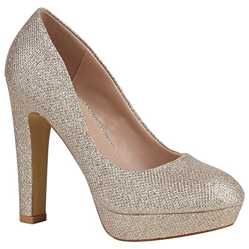 Damen Schuhe Pumps Plateau Party High Heels Lack Blockabsatz 157146 Gold Glitzer Avion 39 Flandell