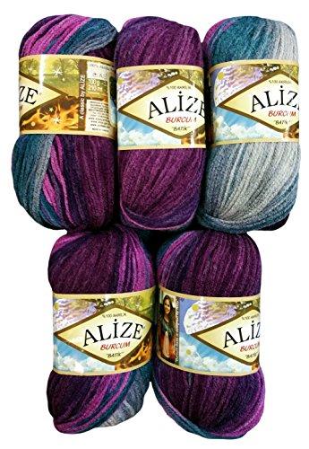 5 x 100 Gramm Alize Burcum Batik Wolle lila flieder oliv grau mit Farbverlauf, Nr. 3366, 500 Gramm Strickwolle