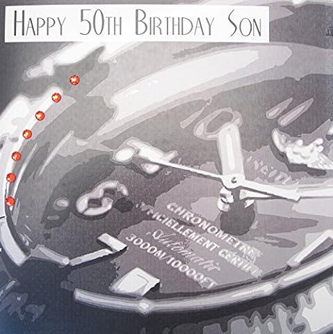 White Cotton Cards XSB300 l'HAPPY 50th Birthday SON
