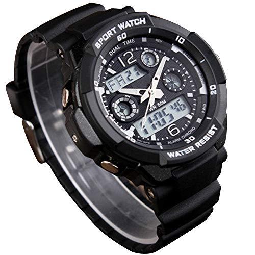 CFGem Herren Uhr Zeiger Und Digitaler Sport Wasserdicht mit PU-Kunststoff Armband SKM-0993 Schwarz (Kunststoff-militärs)