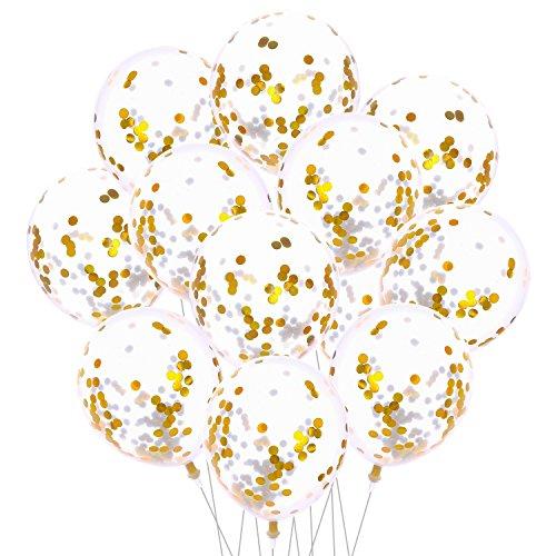 Aneco 20 Piezas de Oro 12 Cm Globos de Confeti Globo de Confeti de Latex Transparente para Decoraciones de Banquete de Boda de Cumpleaños