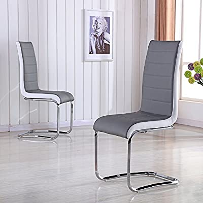 2X Stylish Faux Leather Grey Dining Chair Metal Seat Kitchen High Back Chrome - inexpensive UK light shop.