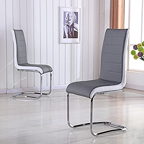 Schindora® Faux Leather Dining Chairs with High Back and Chrome Legs Grey with White Side (6