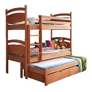 Ye Perfect Choice Triple BUNK BED Caesar Modern High Bed DRAWERS Ladder 3 Children Pine Wood 2 sizes