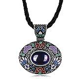 Anyeda Halskette Anhänger,Damen Versilbert Hypoallergen Geometrische Blau & Old Silber Seil Kette Größe 45X4.6X3.9Cm