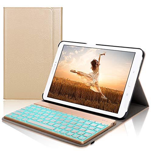 D DINGRICH Samsung tab A 10.1 Tastatur Hülle, Samsung tab A10.1 case mit 7 Farben Hintergrundbeleuchtung Abnehmbare Wireless QWERTZ Tastatur und Auto Schlaf/Wach Funktion für Samsung tab A 10.1