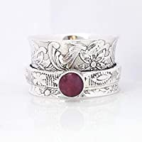 Floral Textured Ruby Ring, Meditation Ring, Anti Anxiety Ring, Sterling Silver Ring, Spinner Ring, Gemstone Ring, Chunky Ring, Handmade Gift Ring