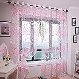 Vorhänge ösen Wohnzimmer Modern Jamicy® 100 x 200cm Neu Mode Auto Transparent Orientalisch Muster Blume Fenster Gardinen Deko Für Schlafzimmer Kinderzimmer Jungen (Rosa)