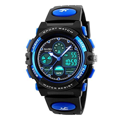 BesWLZ Kinder und Jugendliche Uhr Digital Quarz mit Plastik Armband Wasserdicht Alarm Stoppuh Blau