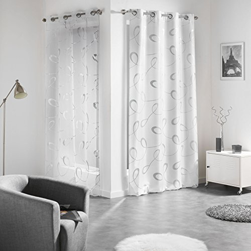 Douceur d'Intérieur Panneau Oeillet Voile Imprime Argent Infinité Blanc Polyester 240 x 140 cm