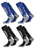 FussFreunde, 2 Paar warme PistenSauser Skisocken zum Preis von einem Paar (43-46-Wolle-blue-black)