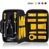 UTOOL Trim Removal Tool Set 19pcs Car Panel Remover Tool Set Including Plastic Trim Tool, Fasterner Clip Remover, Clip Pliers, Radio Removal Keys, Tire Cleaning Hook, and Eva Orgnizer, Yellow
