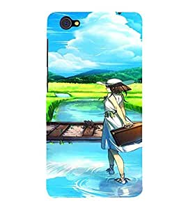 For Vivo X5Pro :: Vivo X5 Pro cute girl, girl, river, sky blue, rail road, cartoon Designer Printed High Quality Smooth Matte Protective Mobile Case Back Pouch Cover by APEX