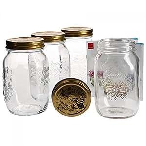Bormioli - Set da 4 vasetti in vetro per conserva con chiusura a leva, capacità: 1 litro, libro di ricette Bormioli incluso
