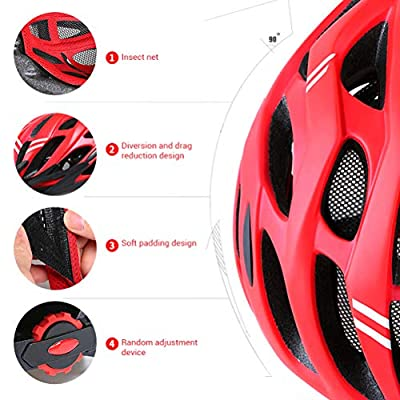 Ourine Unsex Bicycle Helmet, Light Bike Helmet Safety Adjustable Mountain Road Cycle Helmet Breathble Cycling Helmet for Men Women by Ourine