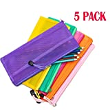 #8: Mesh Stationary Pouch, Multipurpose Stationary Accessories & Travel Storage zippered Bag Organizer/ Waterproof Double Layer Pen Pencil Case Holder - 5pcs (Random Color)