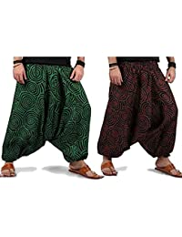 Printed Rajasthani Cotton Afghani Trouser Harem Pants (Combo Pack Of 2 Pcs) For Unisex With Elastic Waist Band - B0784S7DSZ