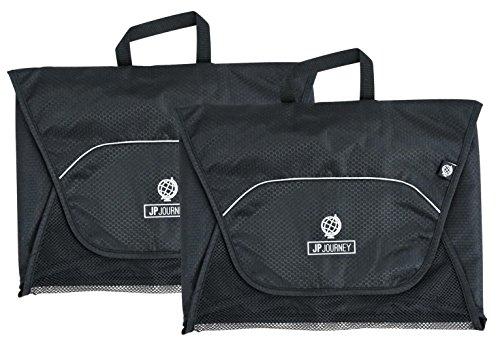 2er Set Packtaschen mit fester Faltschablone für Urlaub und Geschäftsreise, Doppelpack Hemdentaschen für fast knitterfreie Kleidung, Shirts, schwarz