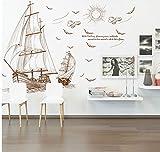 Pmhhc Dekorative Aufkleber Wohnzimmer Schlafzimmer Restaurant Hintergrund Wand Verschönerung Wand Aufkleber Des Segelboot-Reiseaufklebers