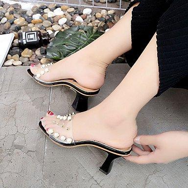 LvYuan Da donna Sandali Comoda PU (Poliuretano) Estate Comoda Basso Bianco Nero Grigio Rosa 7,5 - 9,5 cm White