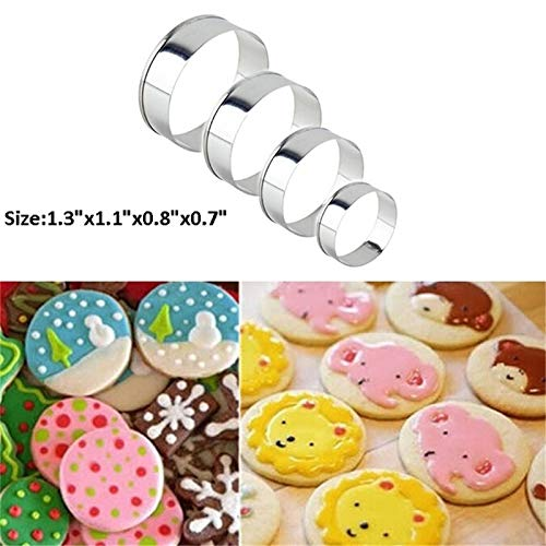 Cake Molds - Wholesale 3.3 2.7 2 1.7 4pcs Durable And Non Stick Stainless Steel Circle Cookie Fondant Cake Mould - Steel Stainless Copper Glass Tools Tile Ring Pipe Tool Notching Circle Cu Gingerbread Cookie Pan