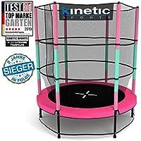 Kinetic Sports Trampolin Kinder Indoortrampolin Jumper 140 cm Randabdeckung Stangen gepolstert, Gummiseil-Federung Sicherheitsnetz