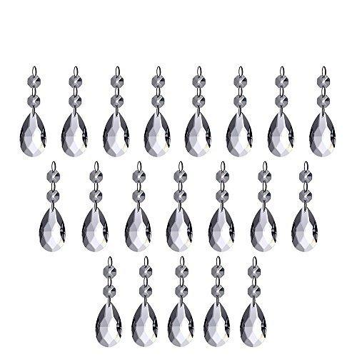 Kronleuchter Kristalle, HTINAC Kronleuchter Prismen Tropfenform Kristall Anhänger Teile Perlen, Kristall Perlen Drop Anhänger Kronleuchter Vorhang Lampe Kette Prismen für Hochzeit Party decoration-20pcs