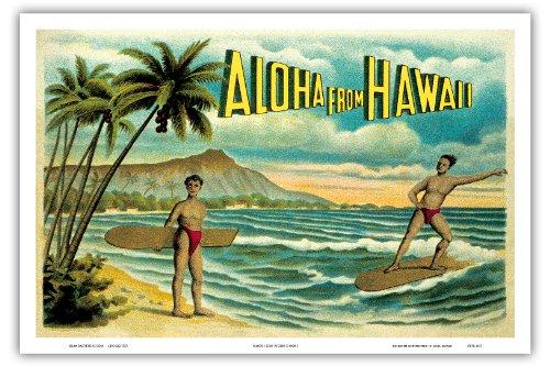 Surf Vintage Hawaii-art (Pacifica Island Art Aloha aus Hawaii-Berühmten Surf Riders-Insel Curio Co, Honolulu-Vintage Hawaiian Farbe Postkarte c.1900's, Hawaiian Master Kunstdruck 12