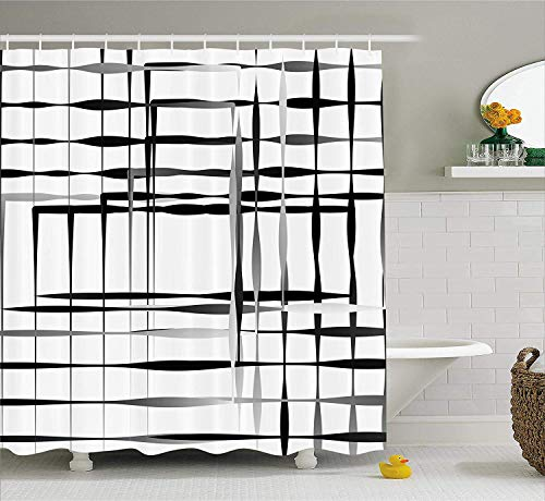 e Decor Shower Curtain, Minimalist Image with Simplistic Spaces and Spare Asymmetric Grids, Fabric Bathroom Decor Set with Hooks, 72x72 inches, Black and White ()
