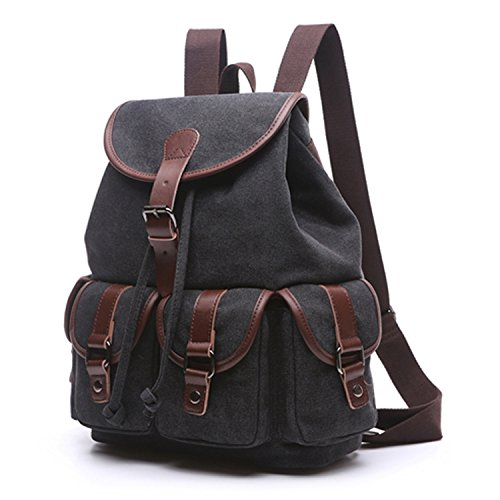 Outreo Borsa Donna Zaino Ragazza Borsello Vintage Bag Laptop Backpack per Studenti Scuola Università Casual Borse Viaggio Coulisse Zaini Firmate Sacchetto Nero