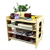 DIY Holz Tidy Organizer Halter Ordnungssystem Zeitschriftenständer oder Prospekthalter 4 Fächer für den Schreibtisch Make Up Kosmetik Ordnungssystem