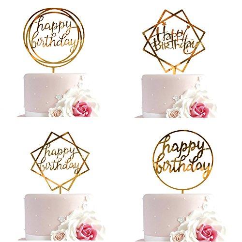 Whaline 4 Stück Kuchen Topper Happy Birthday Cake Topper Acryl Cupcake Topper Kuchen Deko (Gold)