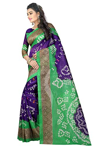 Indian Women's Art Silk Kalamkari and Bhagalpuri Style Sari with Blouse Piece Bandhani 13
