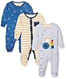 Mothercare Boy's Little Farmer-3 Pack Onesie, Blue, 9-12 Months (Manufacturer Size:80)