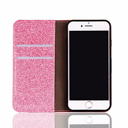 Lusso Wallet Case per iPhone 6Plus, MAOOY iPhone 6sPlus Moda Sparkle Shiny Cristallo Rhinestone Cassa, iPhone 6Plus/6sPlus Libro Portafoglio Custodia con Magnatic Closure & Carta di Credito & Basament Rosa 3