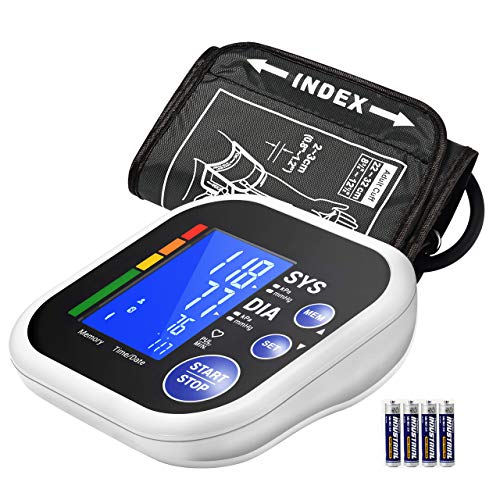 Blood Pressure Monitor, ATMOKO Bluetooth Automatic Upper Arm Blood Pressure Monitor for Home Use with Double Users 120 Memory Store, Large LCD Display, Last Readings, Large Upper Arm Cuff (22cm-32cm)