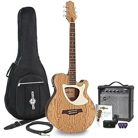 Guitarra Electroacústica Deluxe Thinline + Pack de Ampli de 15W - Natural