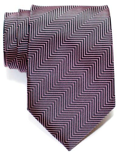 Cravate À rayures en épi Tissée en Microfibres de Retreez Noir charbon et Rose