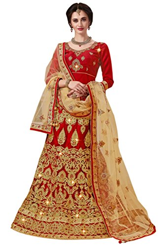 Women'S Maroon Color Embroidered Lehenga