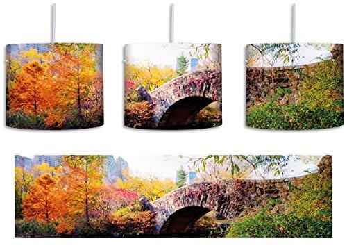 Brücke im Central Park inkl. Lampenfassung E27, Lampe mit Motivdruck, tolle Deckenlampe, Hängelampe, Pendelleuchte - Durchmesser 30cm - Dekoration mit Licht ideal für Wohnzimmer, Kinderzimmer, Schlafzimmer - Central Park-brücke