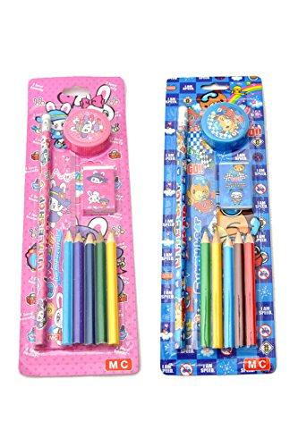 4 x Kinder Schreib-Set 9-teilig (Bleistift, Radiergummi, Spitzer, Lineal, Buntstifte) by schenkfix